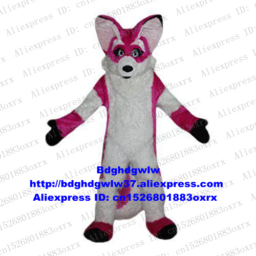 Pink Long Fur Wolf Fox Husky Dog Mascot Costume Adult Cartoon Character Outfit Suit Real Play Open A Business Zx134 Cheap Sales