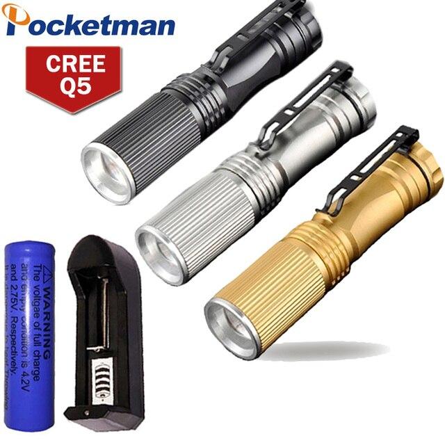 CREE Q5 Mini LED Flashlight Led 2000 Lumens Light Zoomable LED Torch 3-Mode Lanterna LED Penlight Linternas Tatica