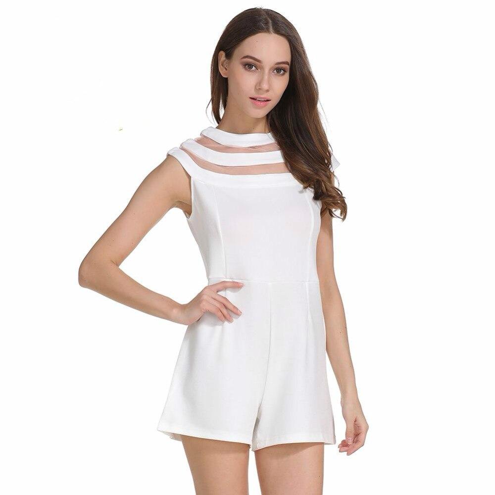 White Jumpsuits For Women Summer Sexy Romper Mesh Stitching Chiffon Bodysuit Wide Leg Jumpsuit Shorts