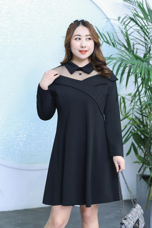 MINSUNDA Plus Size Black Contrast Mesh Shoulder Lapel A Line Dress Patchwork Long Sleeve Foldover Dress Women OL Work Dress