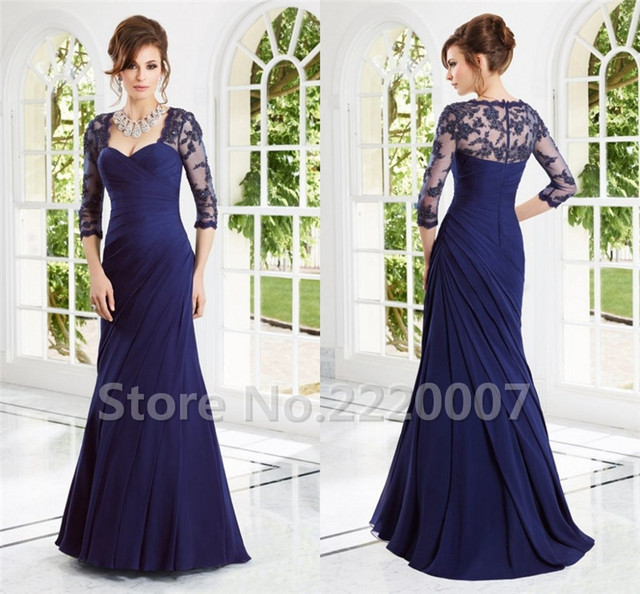 Vestido Longo De Festa Elegant Three Quarter Chiffon Women Party Gown Pleat Floor-length Mother of The Bride Dresses 2017