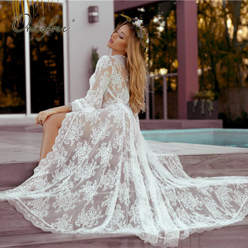 Us 1595 45 Offordifree 2019 Summer Boho Women Long Beach Dress Loose Sexy Transparent White Lace Maxi Dress Cardigan In Dresses From Womens