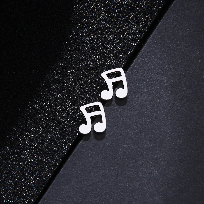 Stainless Steel Set Musical Notes Necklace Bracelets Earrings S552