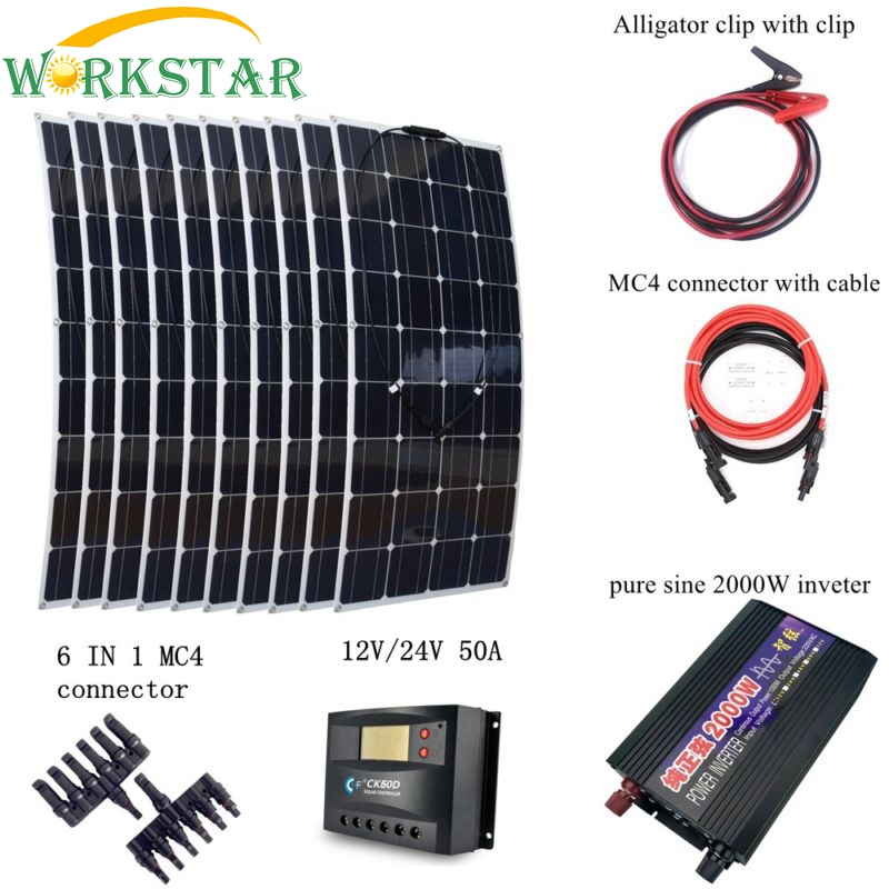 10*100W Flexible Solar Panel Module+Peak 2000W Inverter+50A Controller Houseuse 1000W Solar System Kit Solar Charger for RV Boat