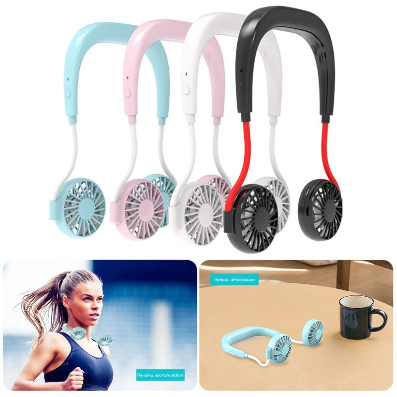 Portable Neckband Fan Hanging USB Rechargeable Air Cooler Neck Fan LED NEW