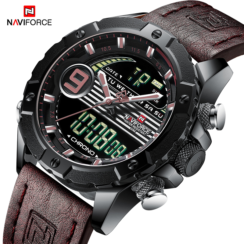 NAVIFORCE Men Multifunction Watch Luxury Brand Sports Watches Men's Quartz LED Digital Waterproof Wrist Watch Relogio Masculino