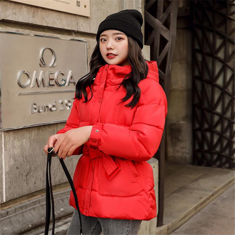 Women Down Cotton Padded Jacket Winter Bread Coats Loose Solid Thicken Wadded Jackets 2019New OL Hooded Female   Parkas   Top CQ2615