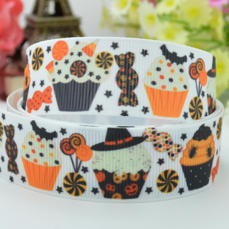 New fashion <font><b>Halloween</b></font> cupcakes 22mm party decorations craft material personalized printed <font><b>grosgrain</b></font> <font><b>ribbons</b></font> 50 yard <font><b>7/8</b></font> roll image