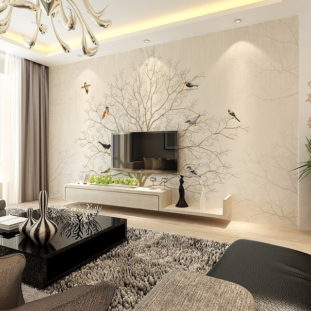 Beibehang 3D stereoscopische behang slaapkamer moderne ...