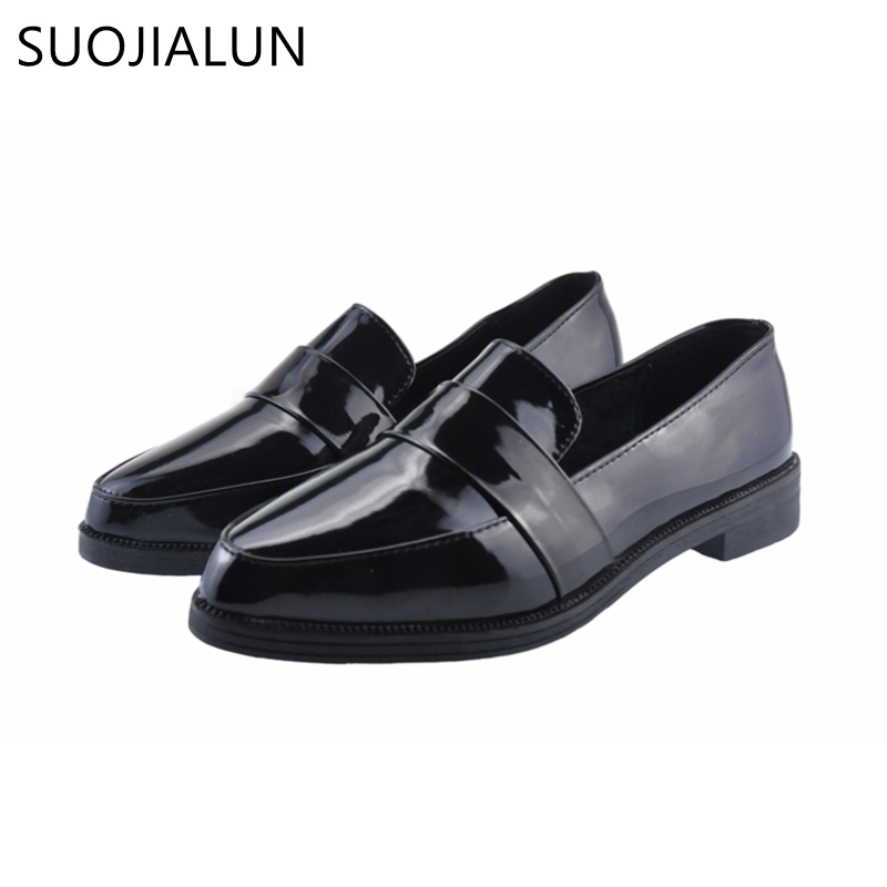 SUOJIALUN Women Flat Shoes Pointed Toe Slip on Woman Oxfords Flat Shoes PU Leather Loafers Female Casual Shoes Women Flats summer slip on shoes women oxfords shoes loafers flats woman casual flat shoes high quality plus size 35 40