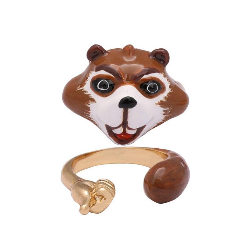 Enamel glaze lovely bear adjustable opening ring set for women trendy chic animal finger rings jewelry new 2018