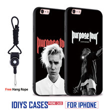 Justin Bieber Originality Coque With Hang Rope Soft Silicone Phone Case Cover Shell Bag For Apple iPhone 5 SE 5S 6 6S 7 PLUS