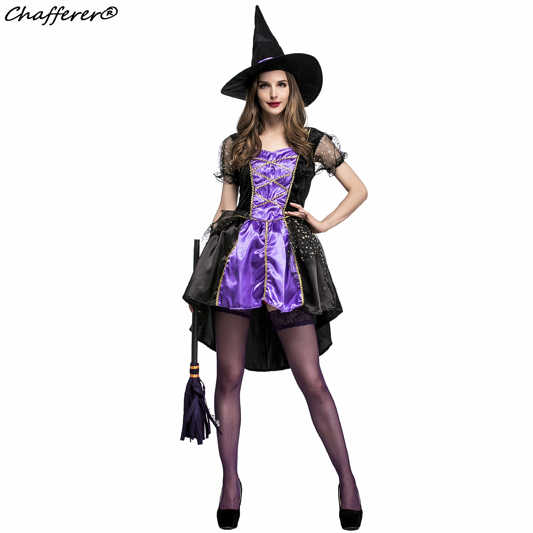 chafferer 2017 new fashion women halloween costumes purple swallowtail witch dresses cosplay game suit sexy womens - Halloween Fashion Games