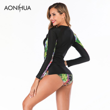 Aonihua Two Piece Swimsuit Large Size Colorful Printed Bathing Suit Long Sleeve Women Separate Swimsuits Swim