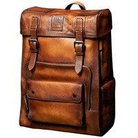 Ретро рюкзак роскошные мужские кожа коровы рюкзак сумка большой емкости дорожные сумки Collegebags