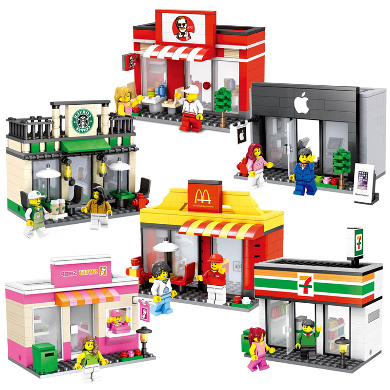 HSANHE Legoings City Mini Street Toy Shop Retail Store 3D Model KFCE McDonald Cafe Apple Miniature Building Block for kidsHSANHE Legoings City Mini Street Toy Shop Retail Store 3D Model KFCE McDonald Cafe Apple Miniature Building Block for kids