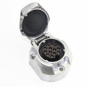 Image 1 - 12 V 13 Pin Metall Anhänger buchse stecker anhänger boot caravan lkw campe Stecker adapter RV auto lkw zubehör