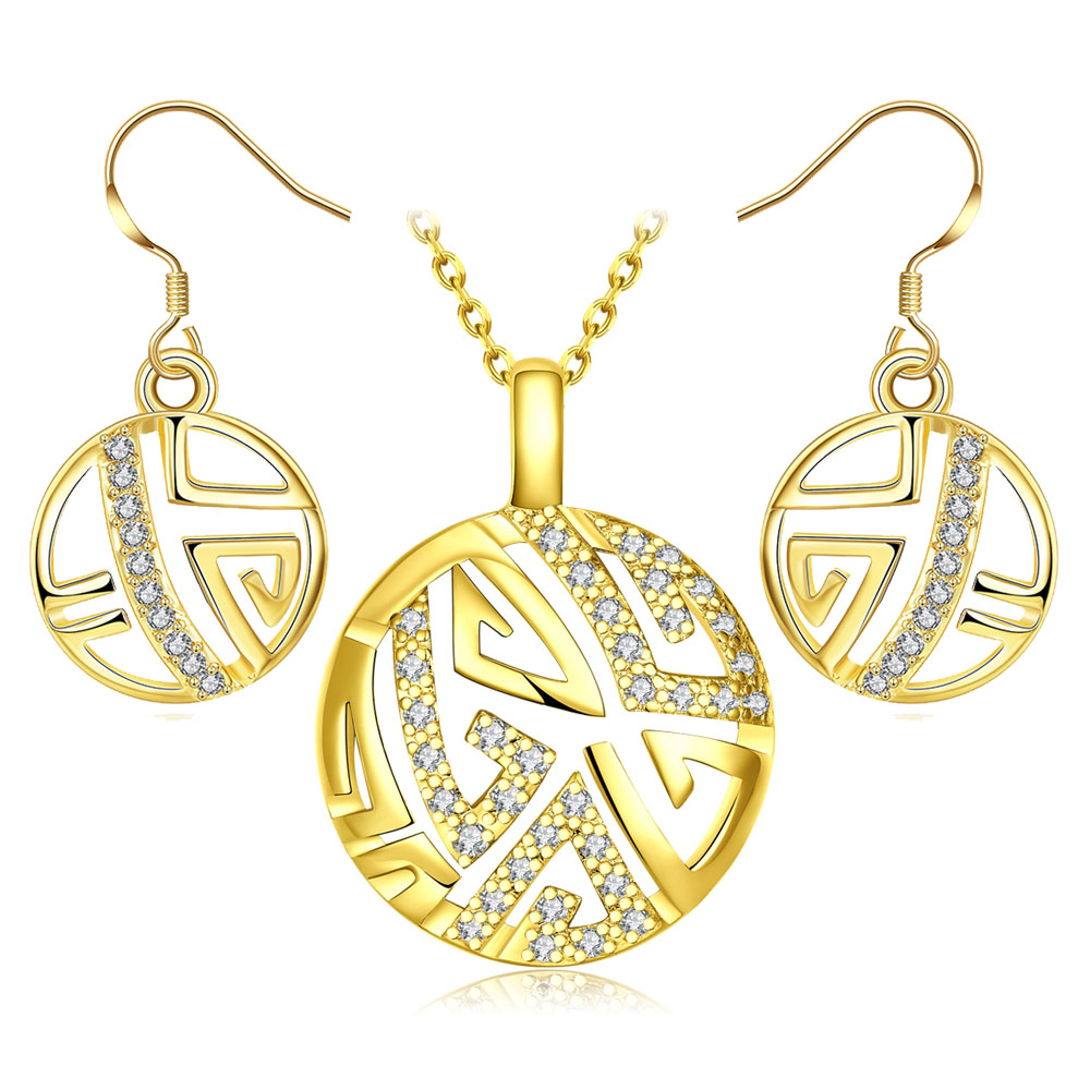 Dubai Gold Color Jewelry Sets For Women Girls Fashion Wedding Austrian  Crystal Necklace Earrings Round Jewellery Set Bijoux