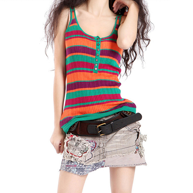 680856f8a3 New 2017 Women Tank Top Colorful Striped Knitted Stretch Slim Vest  Sleeveless Fitness Women Blouse Harajuku