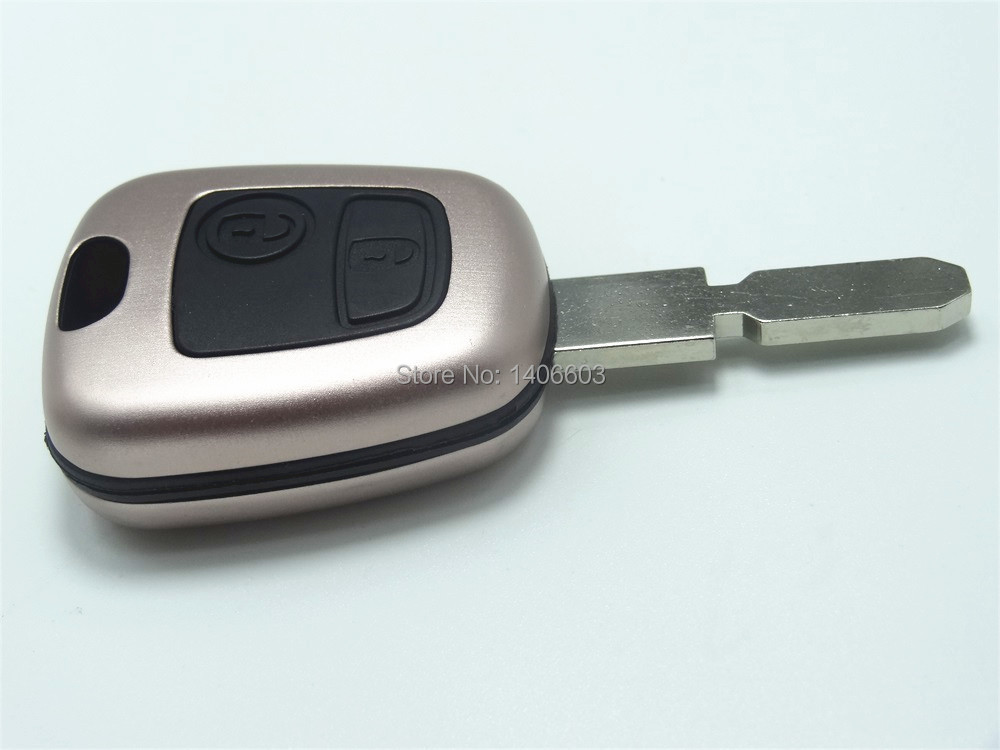 Rose Gold 2 Button Replacement Car Key Shell Fit For Peugeot 406 Key