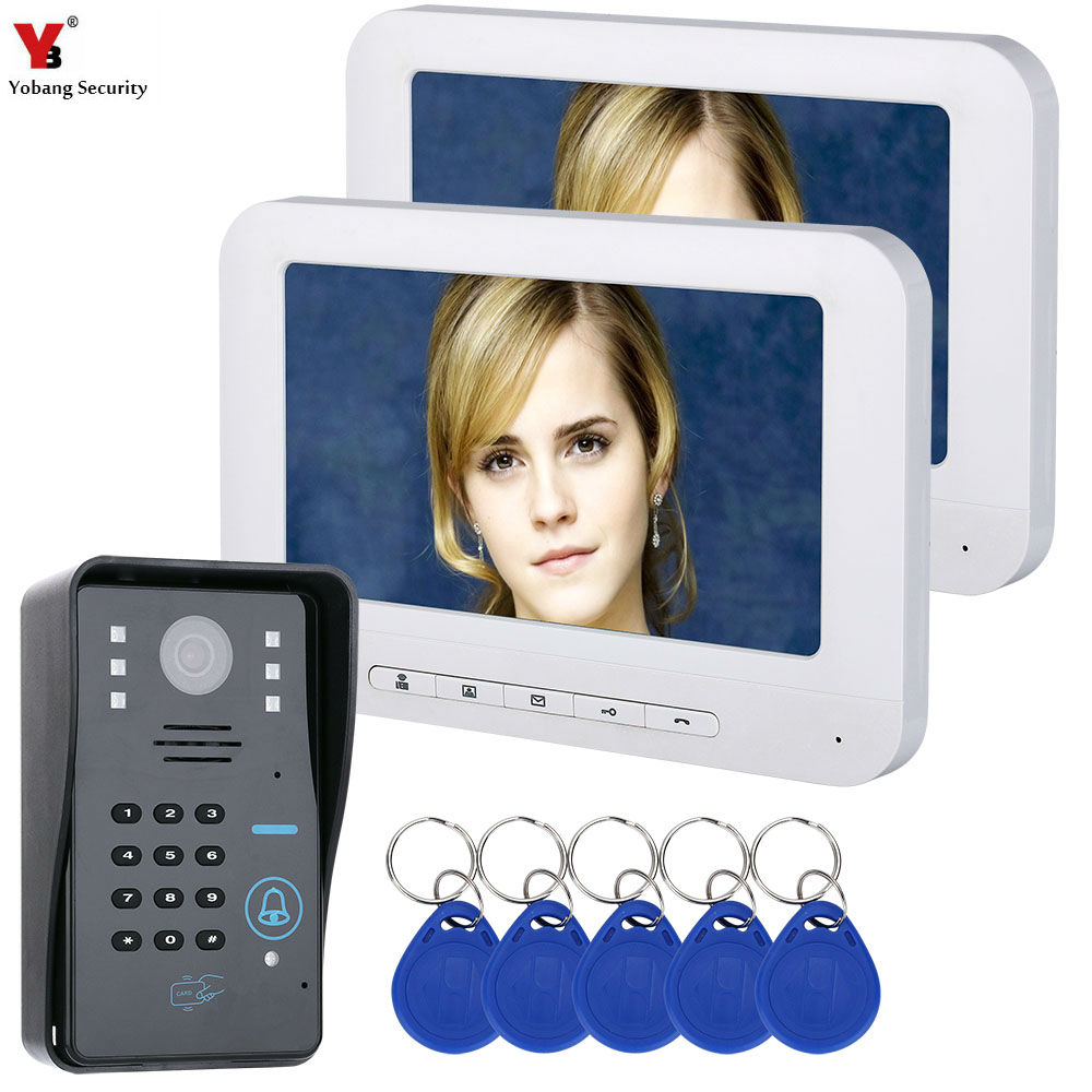 Yobang Security 7 LCD 2 white Monitors RFID Password Video Door Phone Intercom Doorbell With Camera Access Control System 1v3 doorbell camera 2 4ghz video wireless videocitofono video door phone with 3 indoor monitors for door access security
