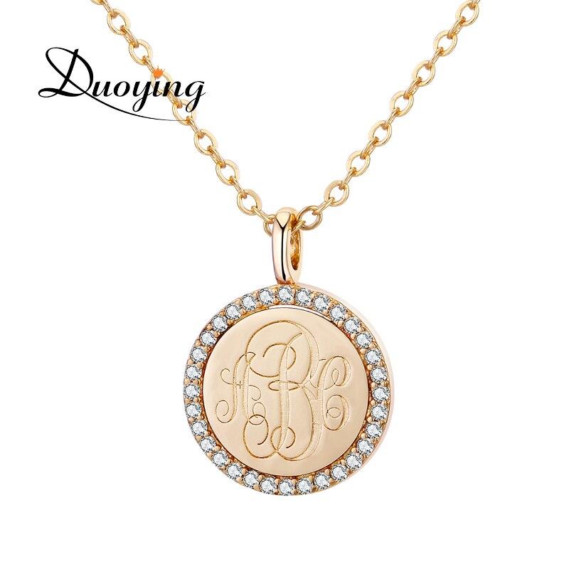 Duoying Goldmünze Brief Halsketten Personalisierte Benutzerdefinierte Monogramm-initiale Name Zirkonia Bling Shinny Disc Liebe Halsketten für Etsy
