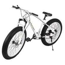 26×21 Inch 7 Speed Snow Bike Double Disc Braking System Bicycle Steel Frame Mountain Bike Outdoor Sports Big-Wheel Cool Style