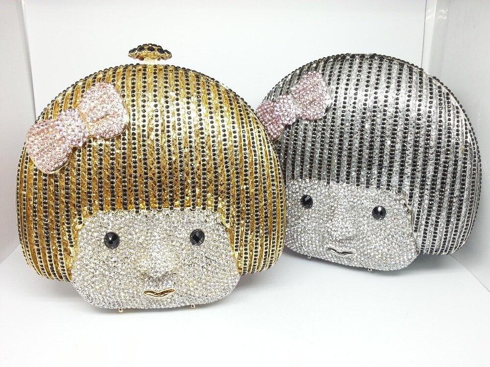 Buy Lovely Cute Cartoon Girl Crystal Party Handbags Women Clutch Bags Evening Brand Clutches Purse Prom Wedding Silver Diamond Bag