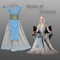 Athemis nueva llegada dress juego de tronos daenerys targaryen cosplay disfraces sexo sin mangas dress larga falda azul