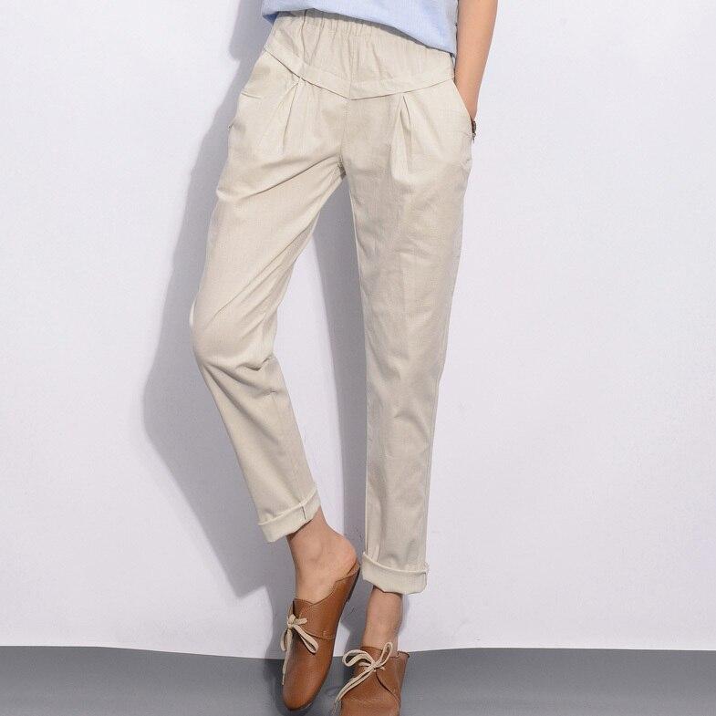 YuooMuoo новые модные женские брюки с эластичной резинкой на талии, узкие льняные брюки-карандаш, летние брюки для женщин, повседневная женская одежда - Цвет: Picture Color