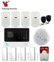YobangSecurity 100 Wireless and 8 Wired Defense Zones Home Security WIFI GSM GPRS Alarm System with Smoke Detector strobe Siren