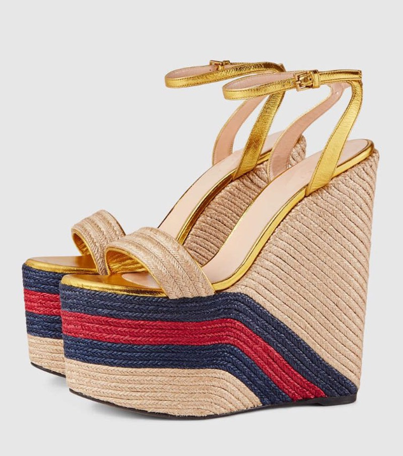 f87da907085 2019 Fashion Rope Braided Platform Wedge Sandal Sexy Open Toe Ankle Strap  Woman Shoes Ultra High Mixed Colors Summer Heels