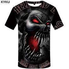 Camiseta de calavera de la marca KYKU camiseta de la sangre de los hombres de la camiseta negra del Anime Angry 3d Casual de la impresión camiseta Punk Rock ropa de verano para hombre