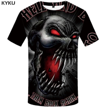 KYKU Brand Skull T-shirt Men Blood Tshirt Black Anime Clothes Angry 3d Casual Print T Shirt Punk Rock Mens Clothing Summer Tops