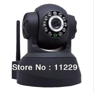 New Plug&Play Wireess IP Video Camera Alarm Dome Dual Audio IR Night Vision PanTilt CCTV Security Webcam American power adapter