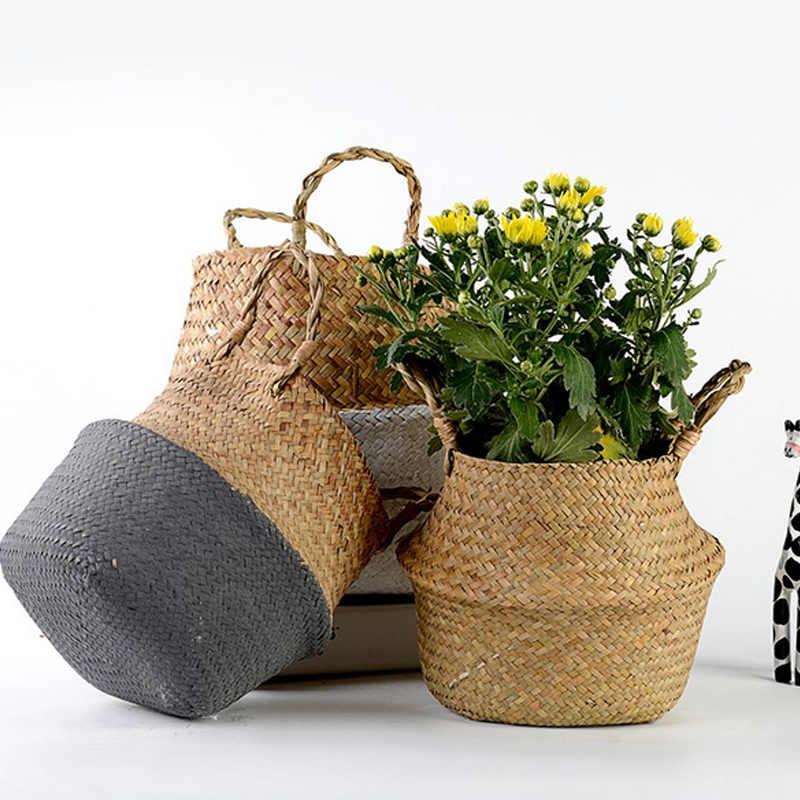 1 шт. садовое растение, цветок горшок ручной работы плетеная корзина для хранения Складная морская водоросль висячая тканая ручка контейнер для хранения игрушек