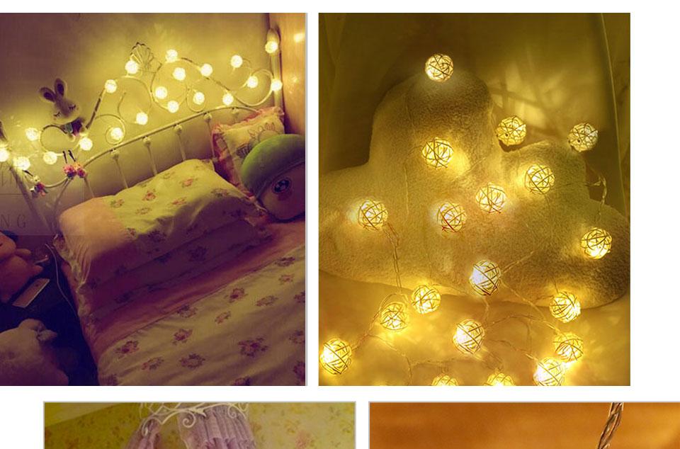 Rattan Balls LED String Lights Battery Garland Cotton Ball Light Chain Guirlande Lumineuse Holiday Christmas Lights Balls (9)