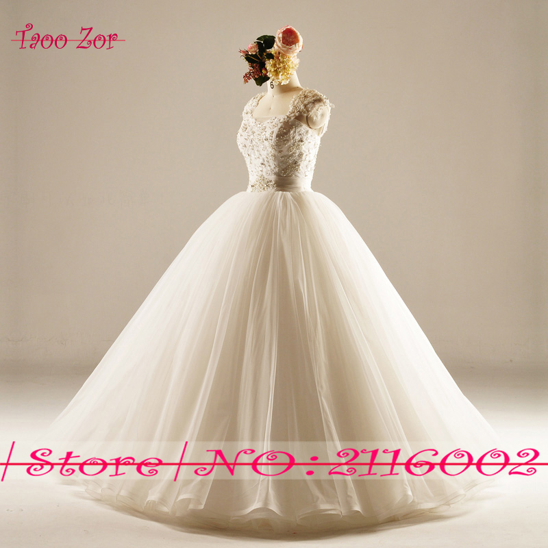 Amdml Much Mărguri Crystal Perle Princess A-Line Lace rochii de - Rochii de mireasa - Fotografie 3