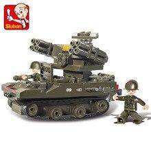 SLUBAN 0283 Military Series Antiaircraft Tank Model Building Blocks 3D Construction Bricks Educational DIY toys For
