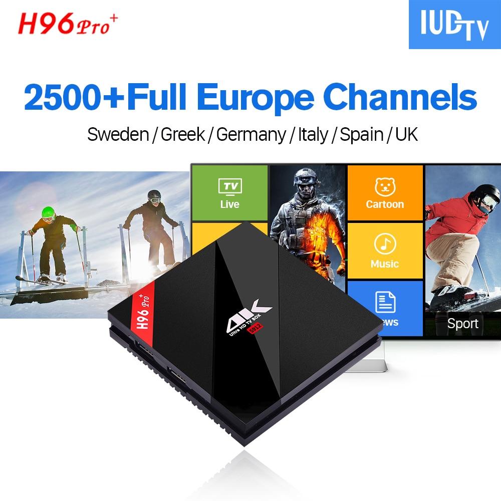 IUDTV Code IPTV Subscription H96 PRO PLUS Android 7.1 TV Box + Europe Sweden Arabic French Belgium Italy Germany UK IPTV Top Box iptv evpad pro