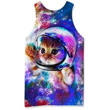 2019 3d Animal Print Tank Top Men Conventional Sleeveless Vest Cute Astronaut Cat Funny Male Bodybuilding Active Tank Tops