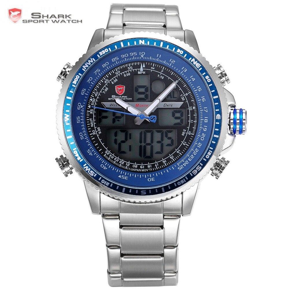 Новый Бренд акула синий жк-аналогового дата будильник хронограф стальной ремешок кварцевый спортивные запуск часы мужчины цифровые часы / ...