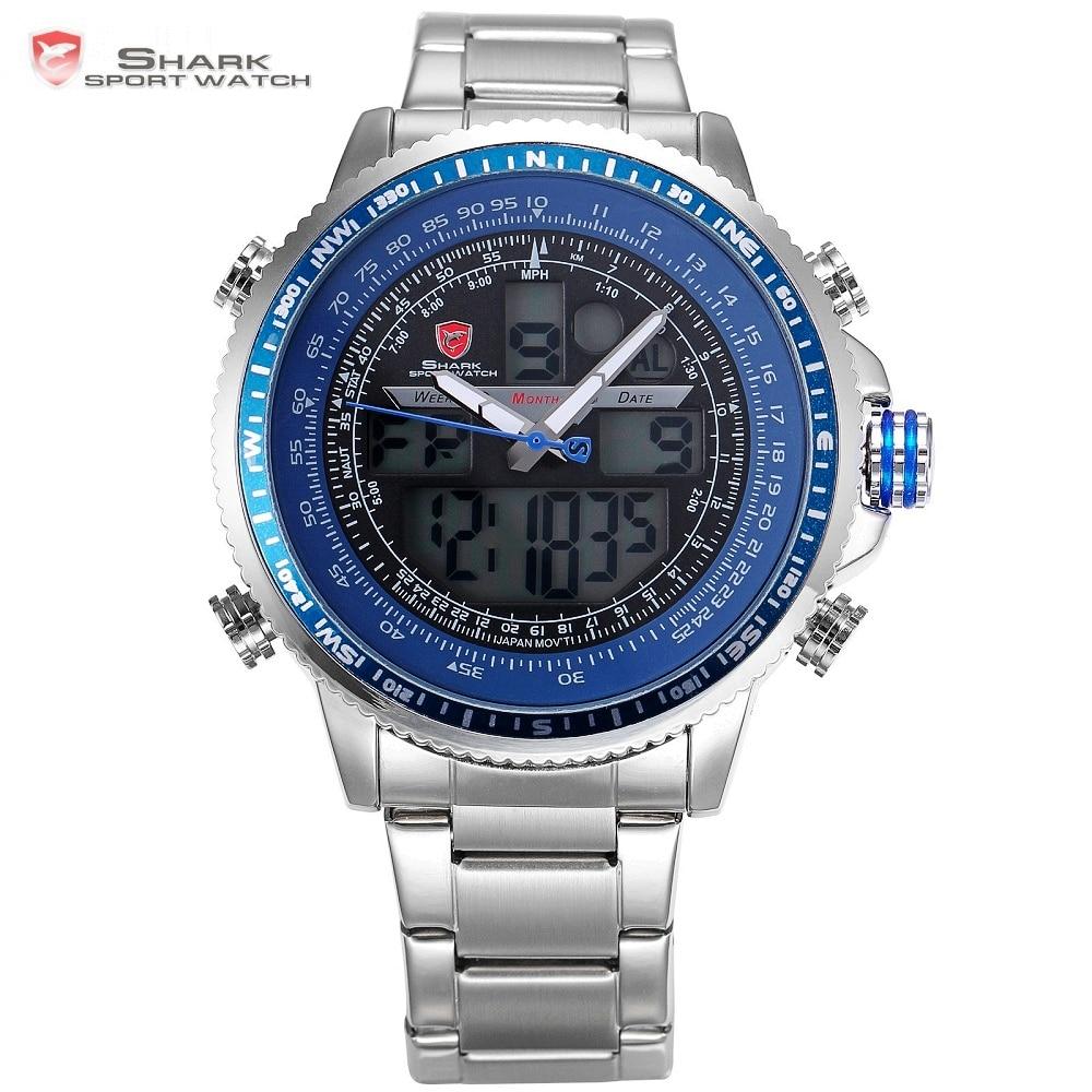 Winghead SHARK Sport Watch Blue Fashion Casual Quartz Wristwatches LCD Digital Dual Time Chronograph Waterproof Relogio /SH326N