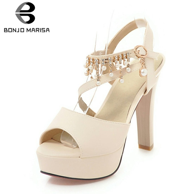 BONJOMARISA Màu Hồng Ngọt Ngào 32-43 Mùa Hè Nền Tảng Giày Sandal Nữ Đeo Chéo Chiếu Trúc Hạt Cao Gót Nữ Nông Giày Người Phụ Nữ
