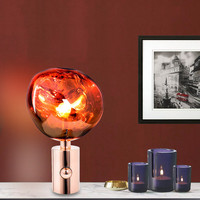 Nordic Personality Living Room Bedroom Bedside Tom DIXON Table Lamp Art Irregular Shape Plating Lava Decorative Lamp