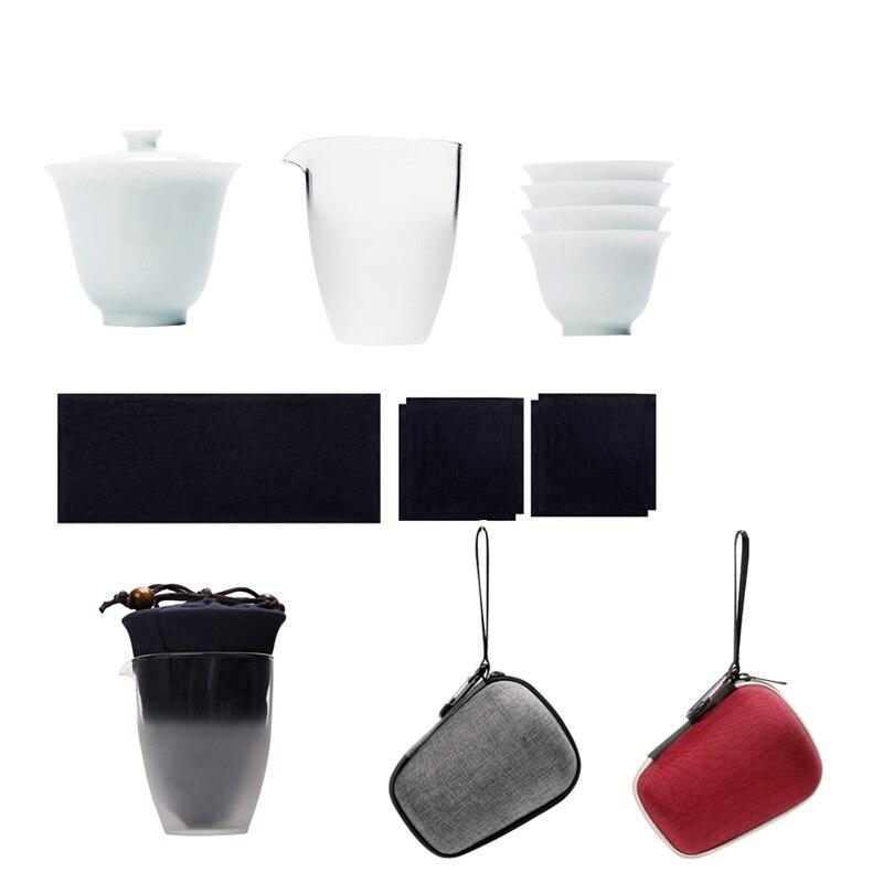 ceramic teapot kettle gaiwan teacups chinese teaware portable travel tea set with travel bag