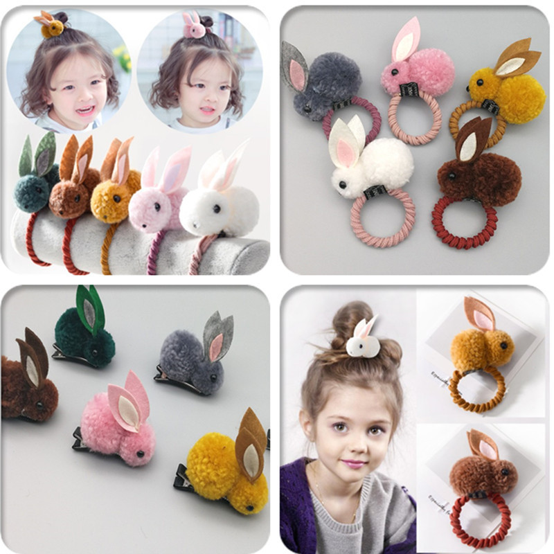 Korean Hair Clip Animals Rabbit Hairpins For Girls Accessories 3D Plush Ears Cute Kids Baby Clips Rope