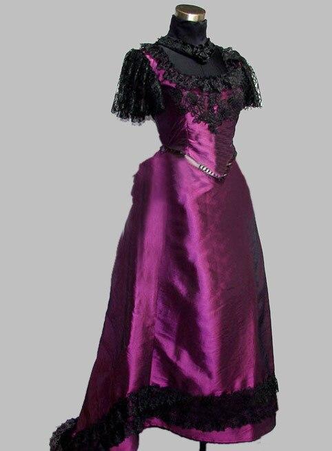 Gothique noir et violet Thai soie & dentelle victorienne robe de fête robe Cosplay