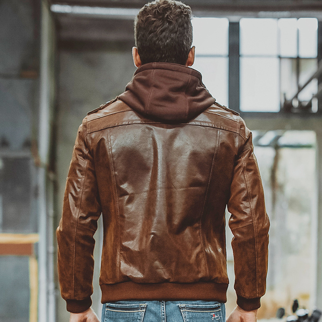 Men's Real Leather Jacket Men Motorcycle Removable Hood winter coat Men Warm Genuine Leather Jackets 3