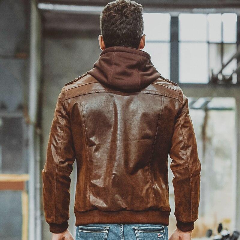 Veste de moto en cuir véritable pour hommes capuche amovible manteau d'hiver pour hommes vestes en cuir véritable chaud - 4